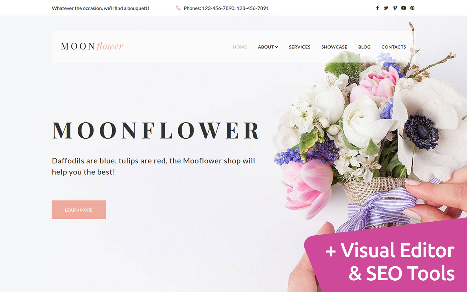 """Moon - Flower Boutique"" Responsive Moto CMS 3 Template №113319"