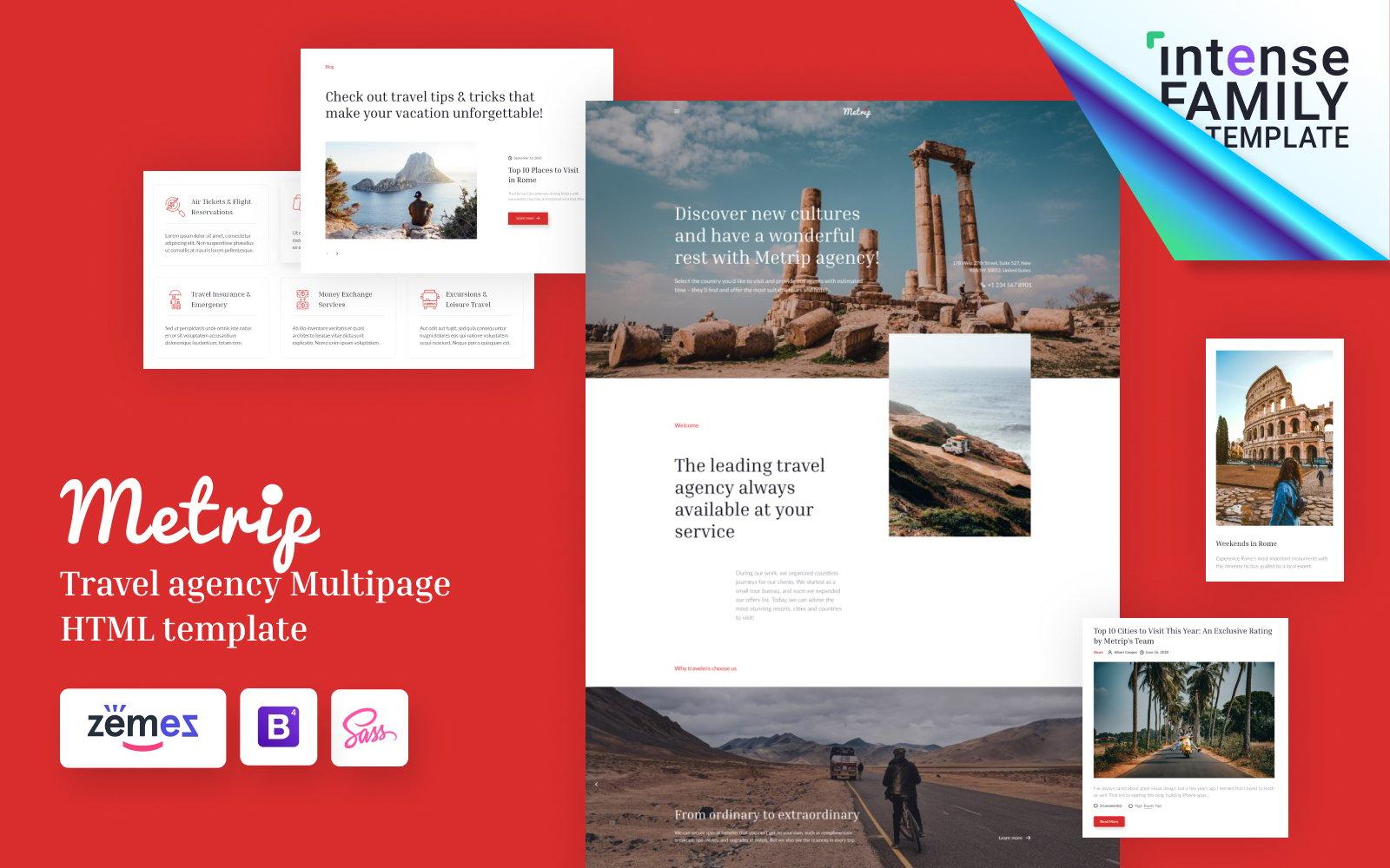 "Template Siti Web Responsive #113320 ""Metrip - Travel Agency HTML"""
