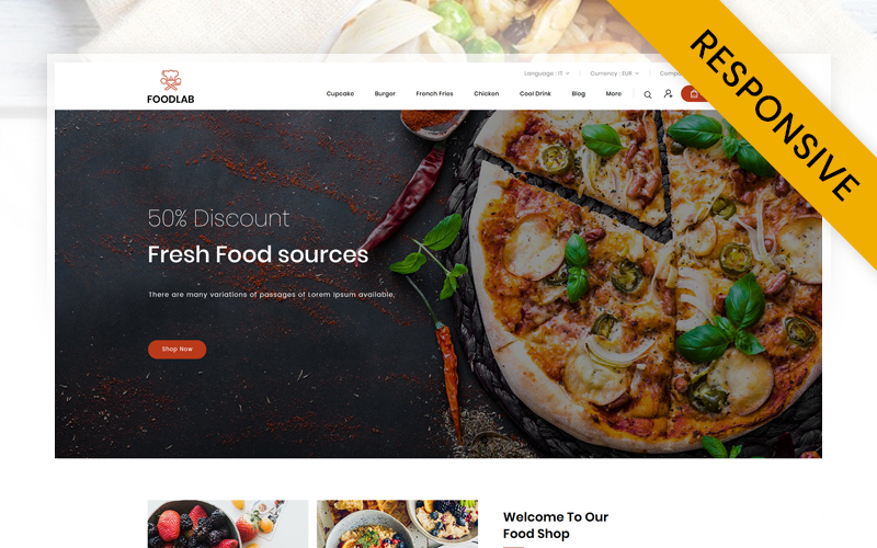 """FoodLab  - Restaurant Store"" - адаптивний PrestaShop шаблон №113866"