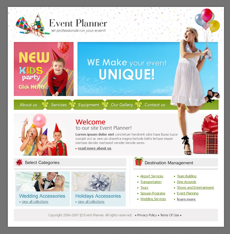event planner website template 11476. Black Bedroom Furniture Sets. Home Design Ideas