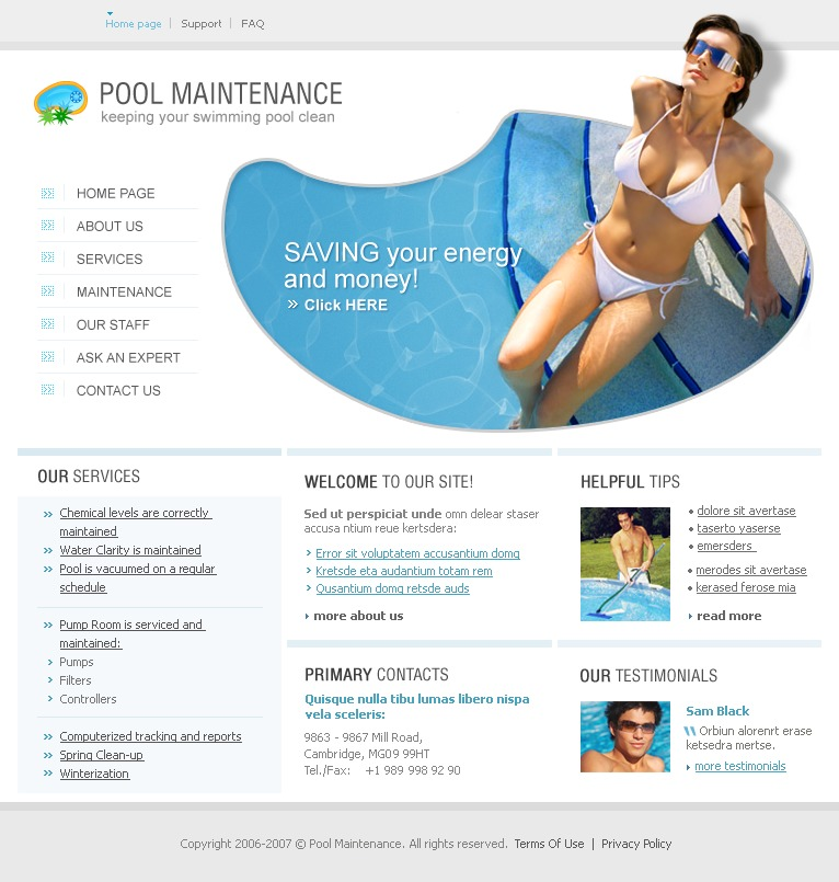 Pool Cleaning Website Template 11453