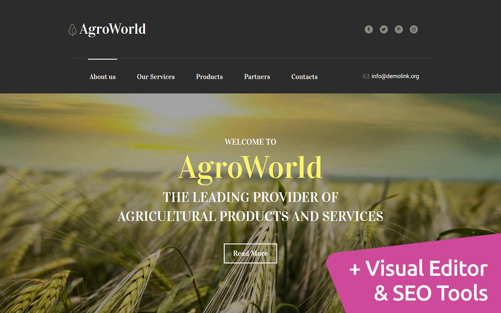 "Tema Moto CMS 3 Responsive #114021 ""ArgoWorld - Agriculture"""