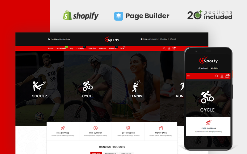 Sporty Sports and  Accessories Store Shopify Theme