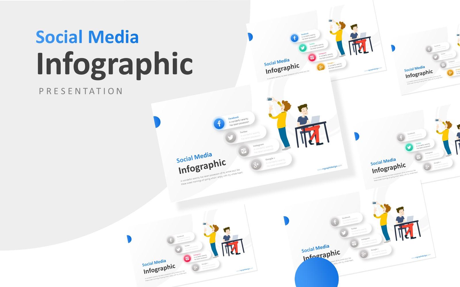 "Plantilla PowerPoint ""Businessman and Social Media Infographic Presentation"" #114102"