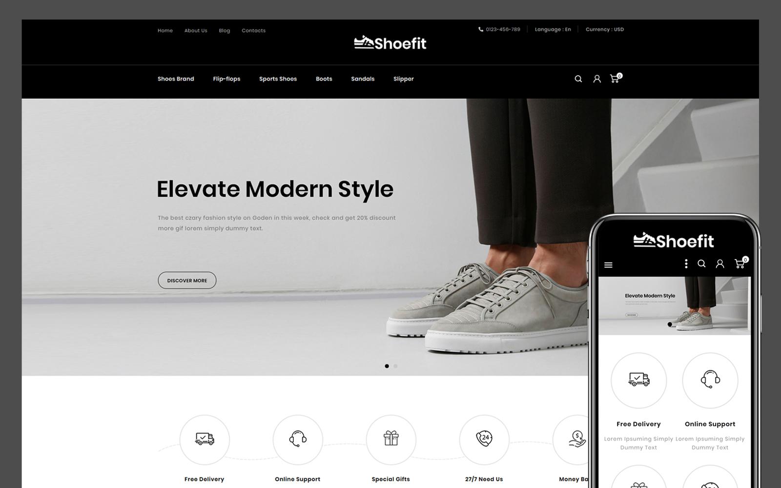 Responsivt Shoefit Shoes Store PrestaShop-tema #114155
