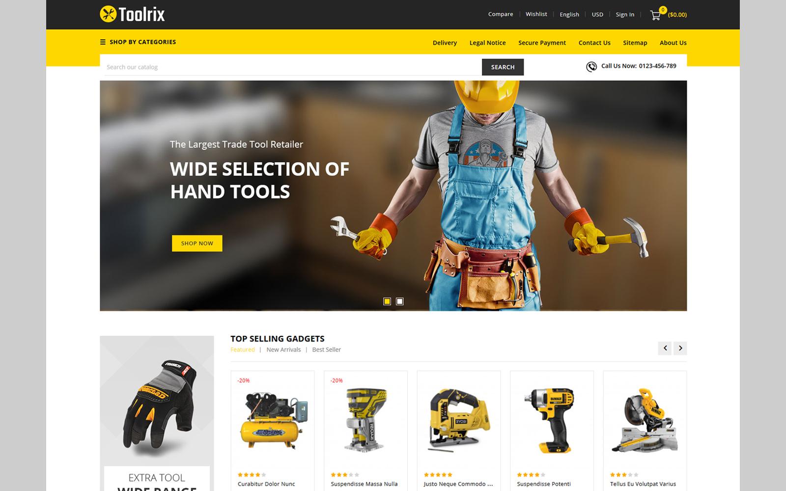 Responsivt Toolrix - Tools Store PrestaShop-tema #114151