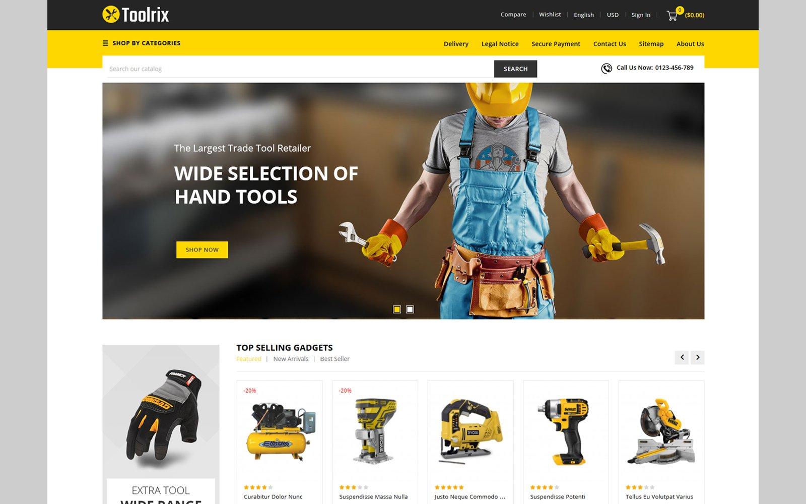 """Toolrix - Tools Store"" - адаптивний PrestaShop шаблон №114151"