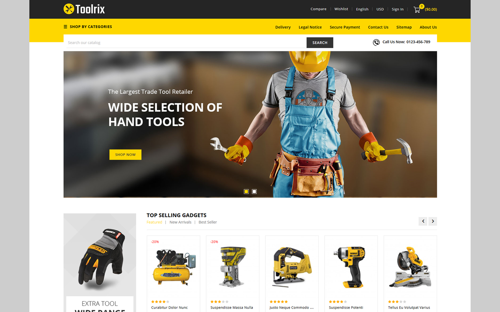 """Toolrix - Tools Store"" Responsive PrestaShop Thema №114151"