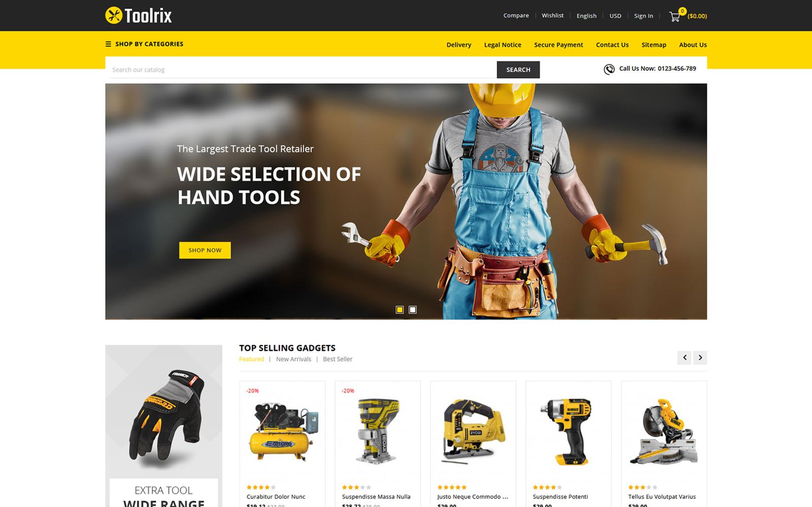 """""""Toolrix - Tools Store"""" thème PrestaShop adaptatif #114151"""