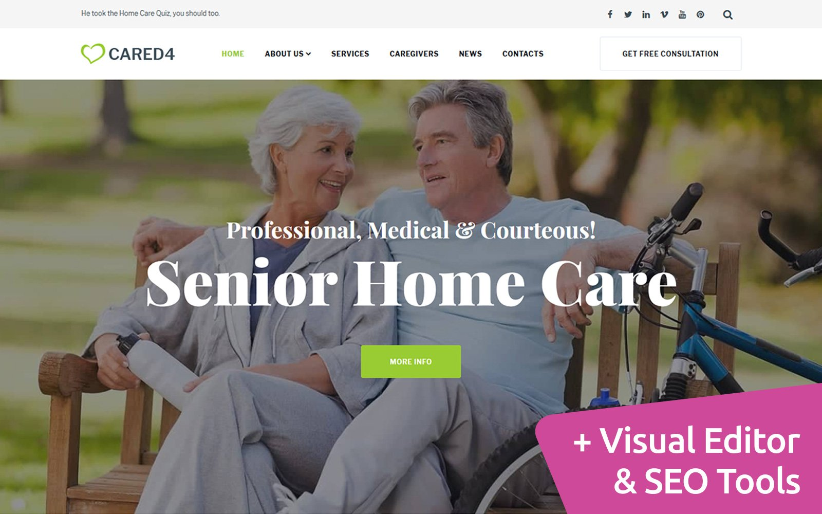 "Responzivní Moto CMS 3 šablona ""Cared4 - Senior Care"" #114303"