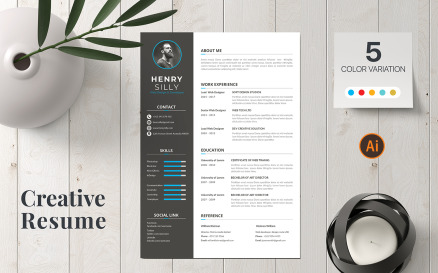 Clean and creative Henry CV Resume Template