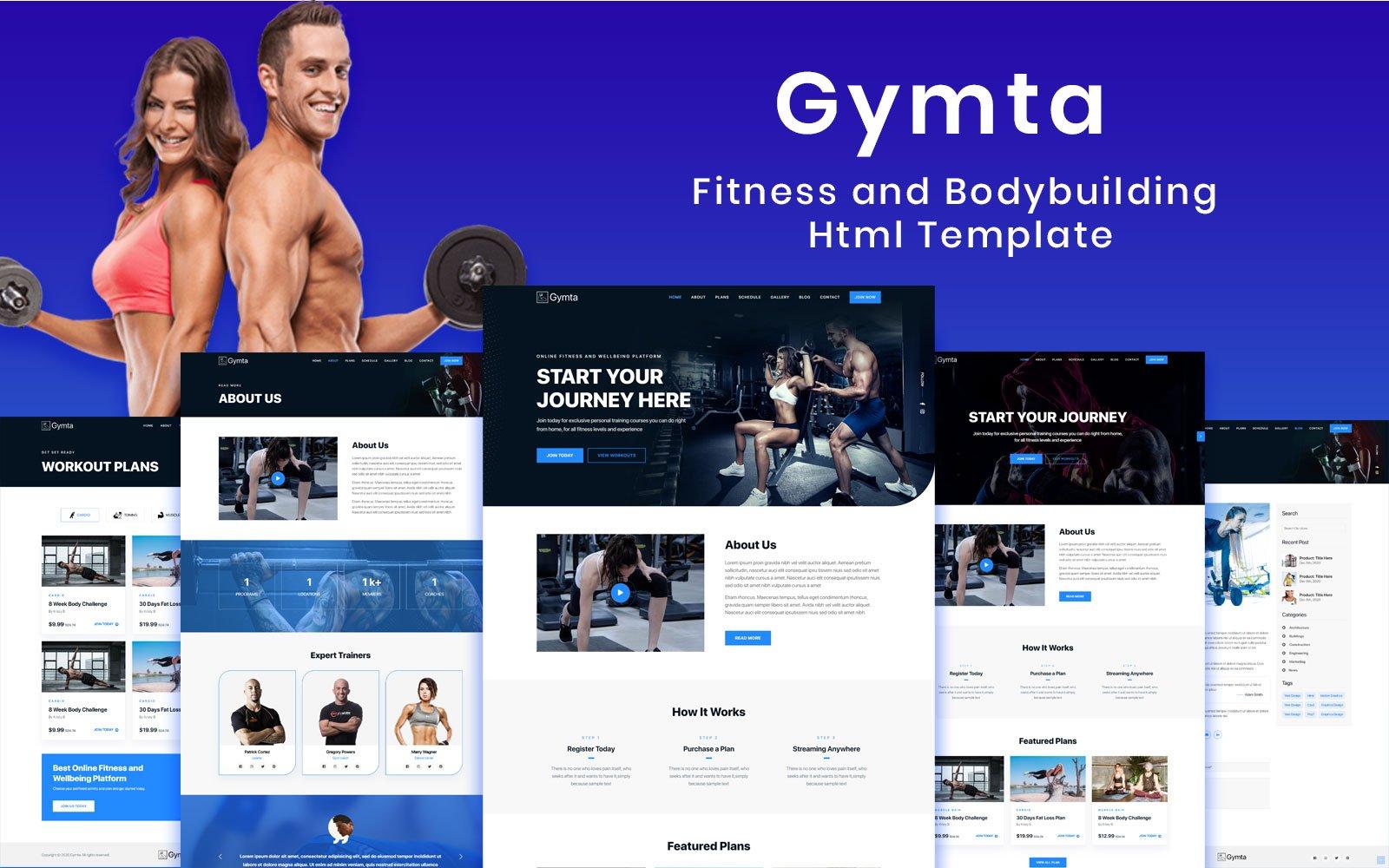 """Gymta - Fitness & Bodybuilding Html"" 响应式网页模板 #114544"