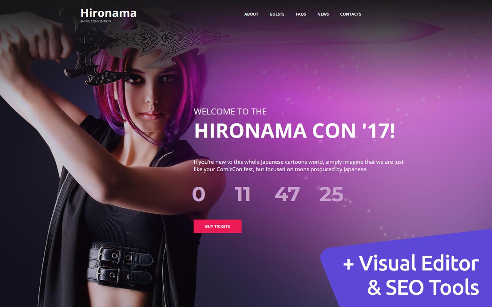"Tema Moto CMS 3 Responsive #114546 ""Hironama - Anime"""