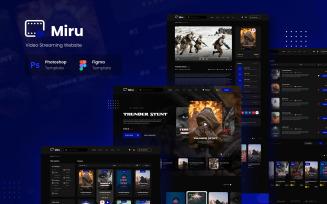 Miru - Video Streaming Website UI Elements