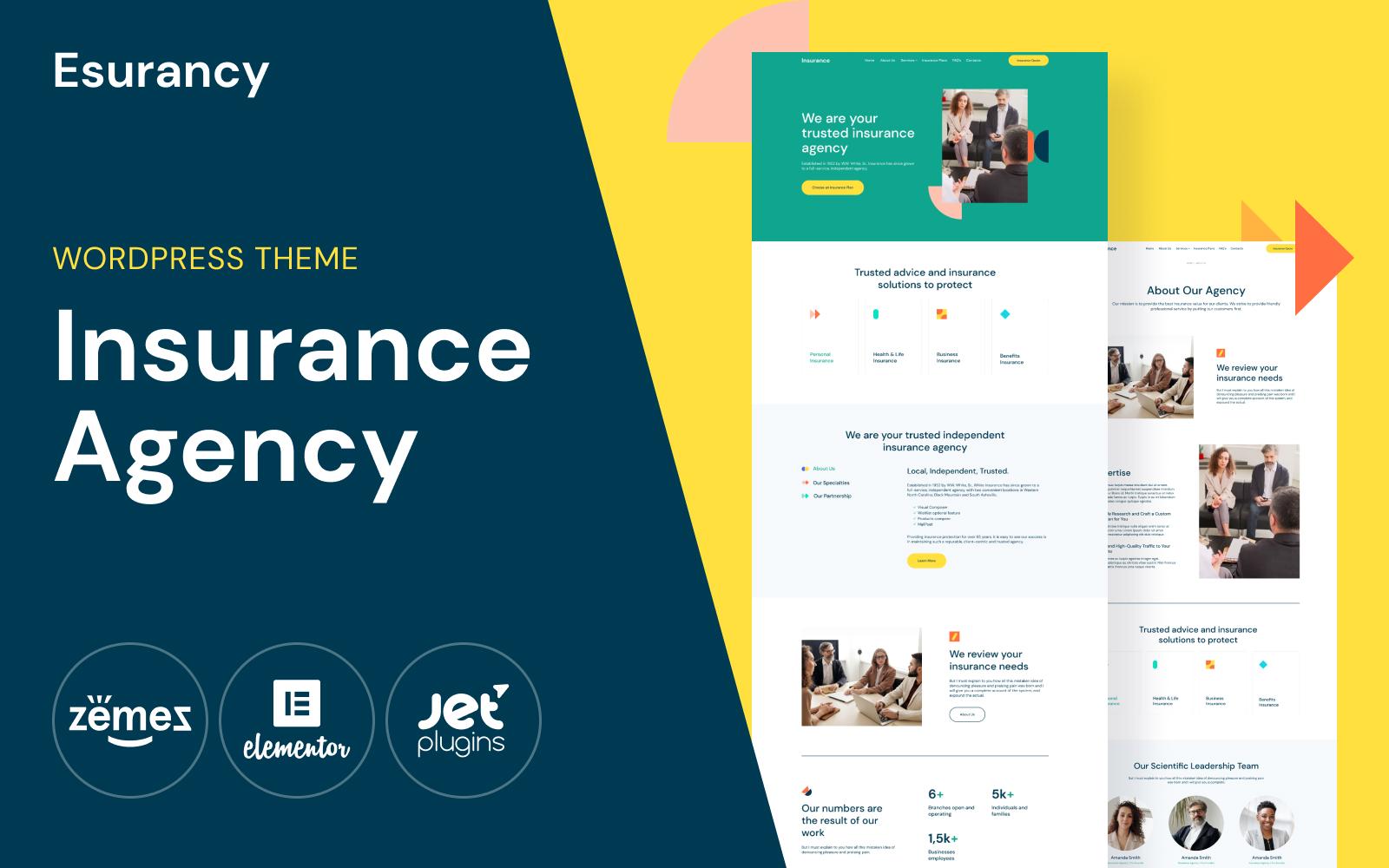 """Esurancy - Insurance Agency Services"" - адаптивний WordPress шаблон №114813"