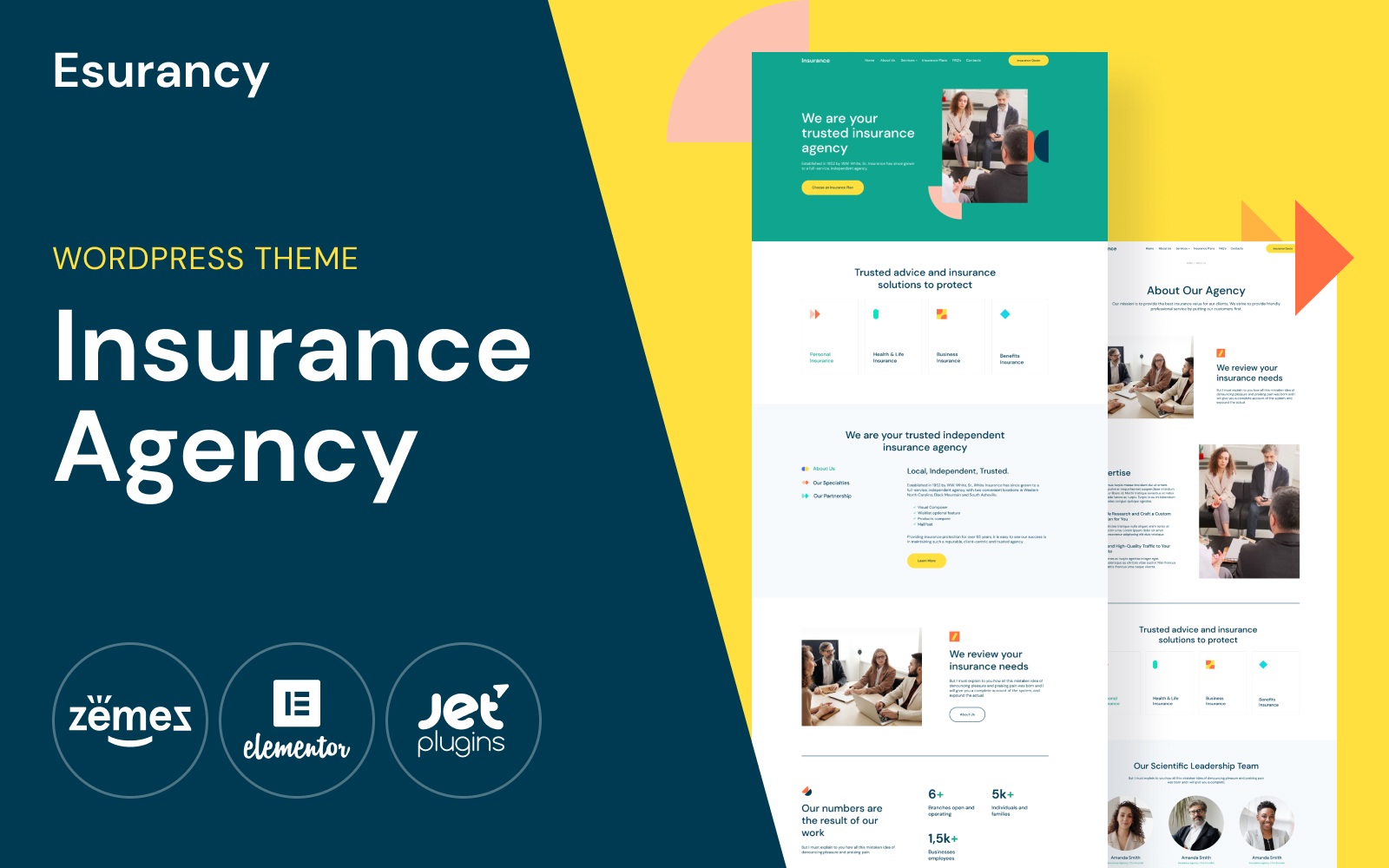 Responsywny motyw WordPress Esurancy - Insurance Agency Services #114813