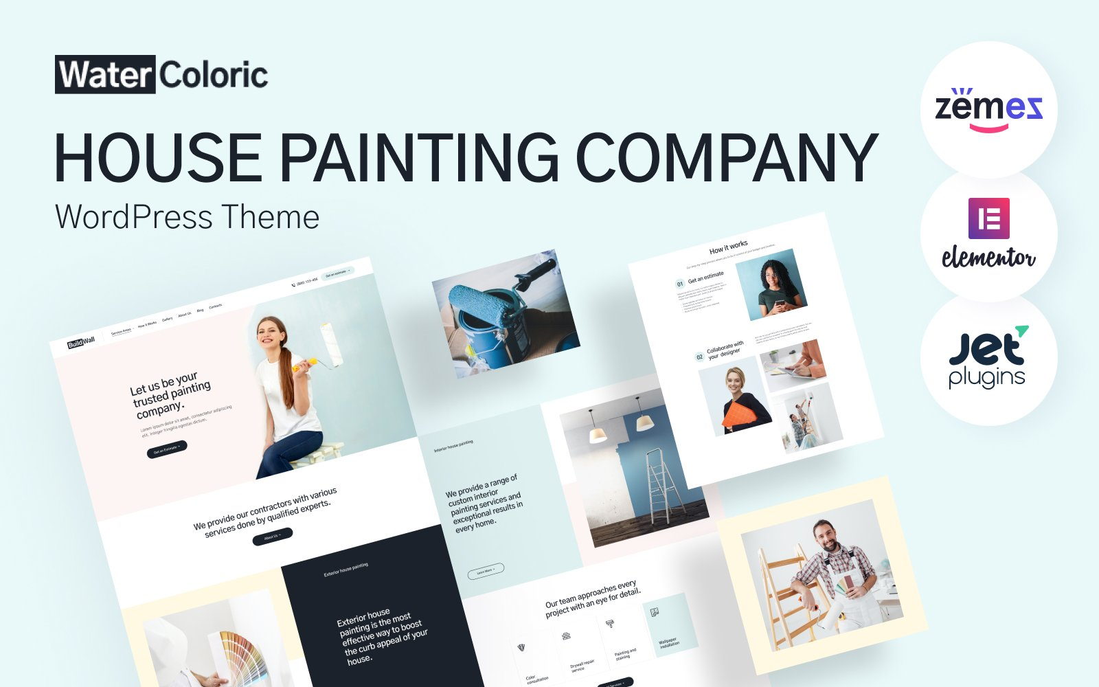 Responsywny motyw WordPress WaterColoric - House Painting Company #114815
