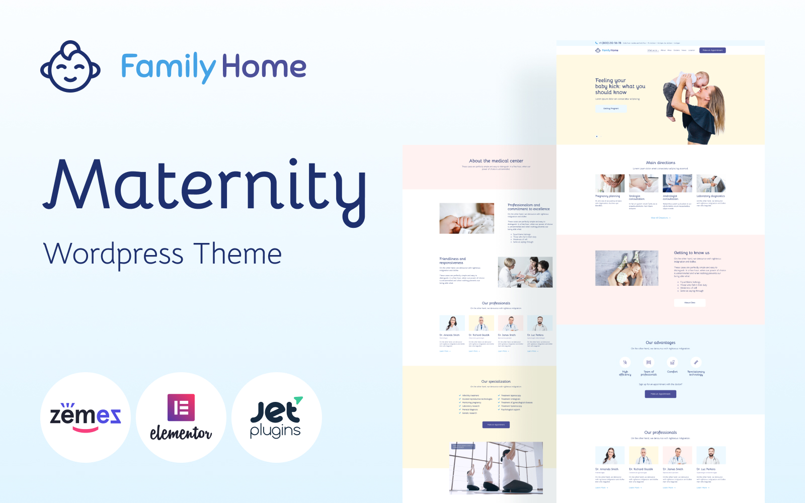 "Template WordPress Responsive #114814 ""FamilyHome - Pregnancy and Maternity"""