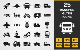 25 Transport GLYPH PACK Icon Set