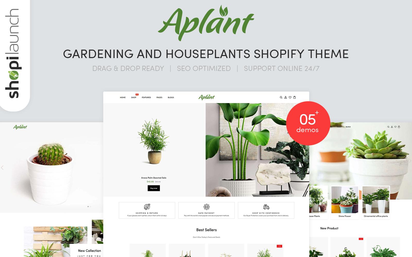 """Aplant - Gardening & Houseplants"" thème Shopify adaptatif #115074"