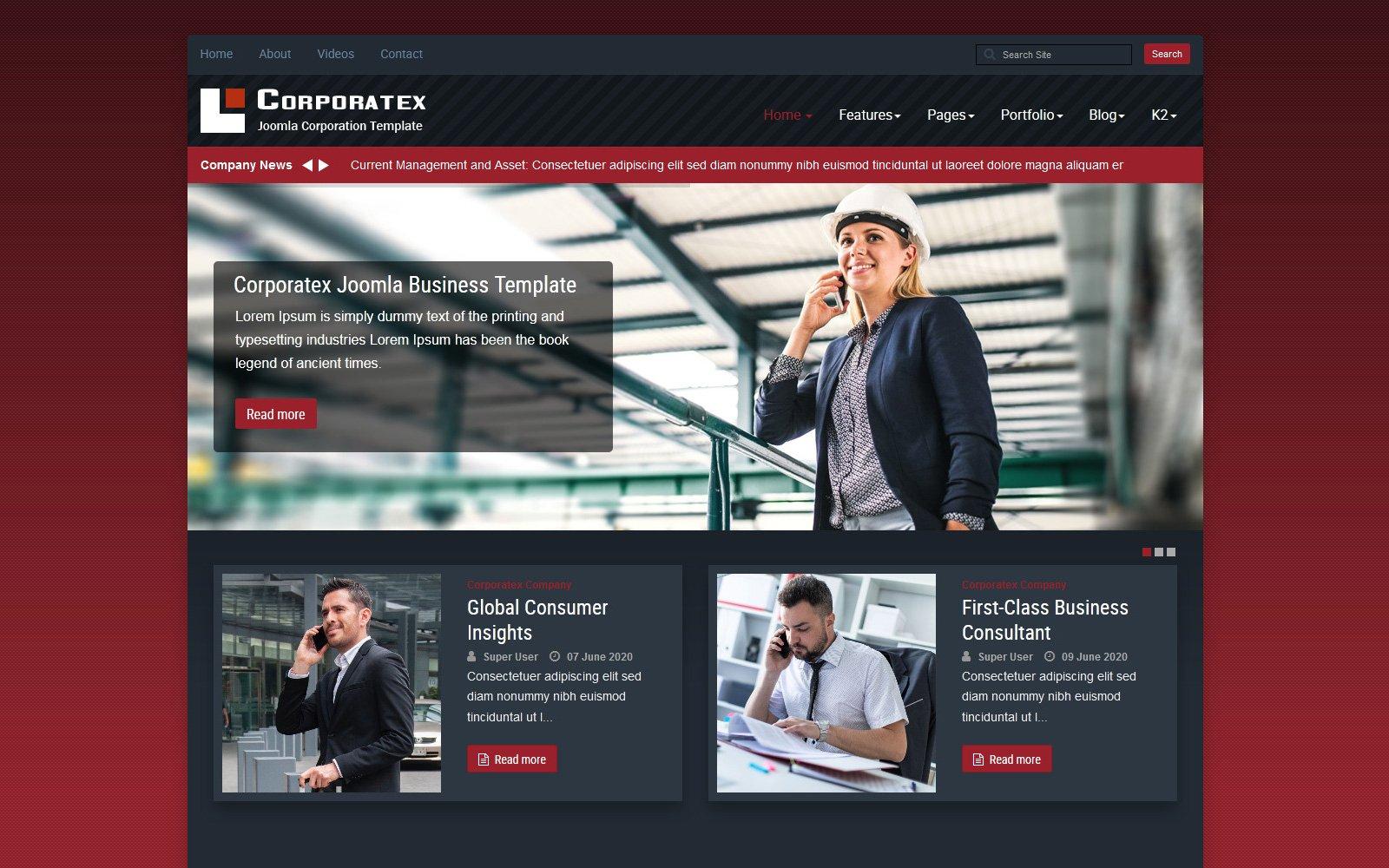 """Corporatex Business-Corporation"" Responsive Joomla Template №115073"