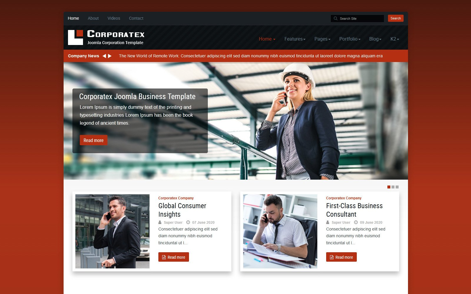 """Corporatex Business-Corporation"" thème Joomla adaptatif #115073"
