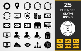 25 Business GLYPH PACK Icon Set