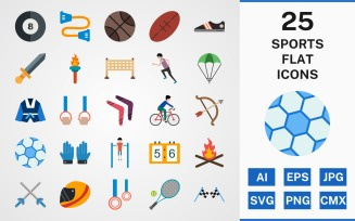 25 SPORTS AND GAMES FLAT PACK Template Iconset