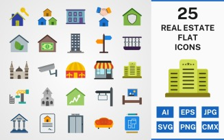 25 REAL ESTATE FLAT PACK Icon Set