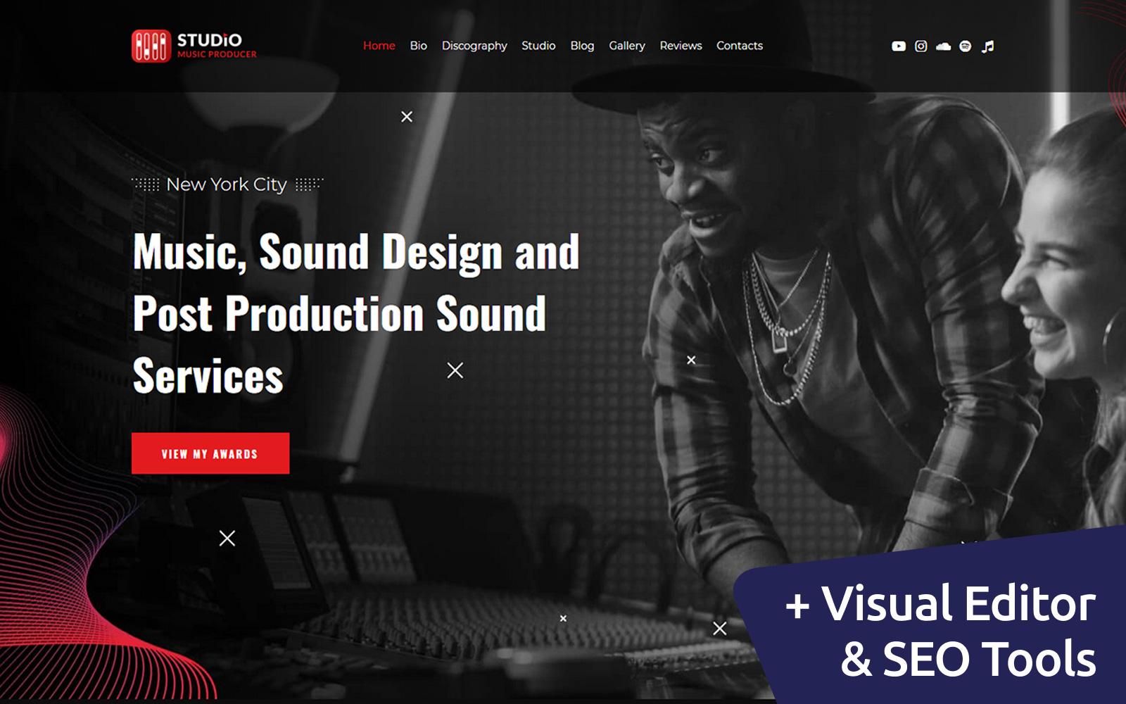 """Studio - Music Producer"" - адаптивний MotoCMS 3 шаблон №115421"