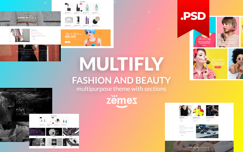 Reszponzív Multifly - Multipurpose Fashion and Beauty Online Store PSD sablon 115559