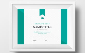 World`s Best Certificate Template