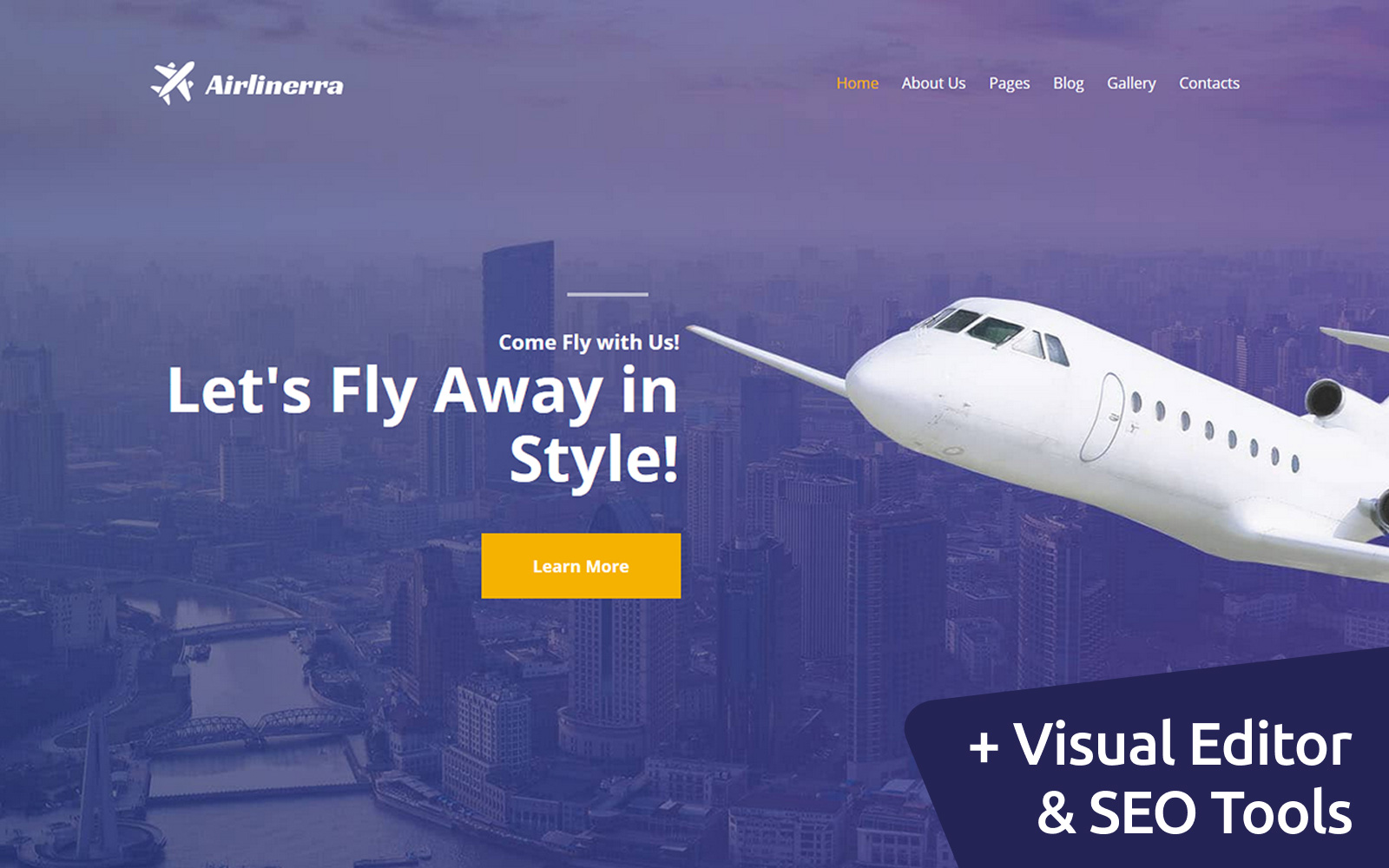 """""""Airlinerra - Private Airline"""" 响应式Moto CMS 3 模板 #115719"""