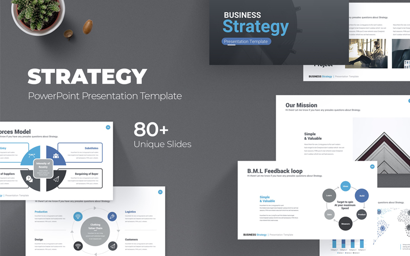 """Business Strategy"" modèle PowerPoint  #115779"