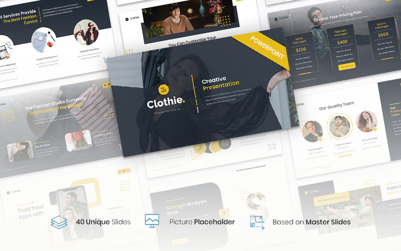 """Clothie – Creative Business"" modèle PowerPoint  #115777"