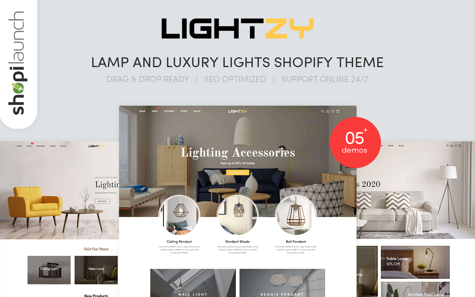 """""""Lightzy - Lamp and Luxury Lights Responsive"""" 响应式Shopify模板 #115712"""