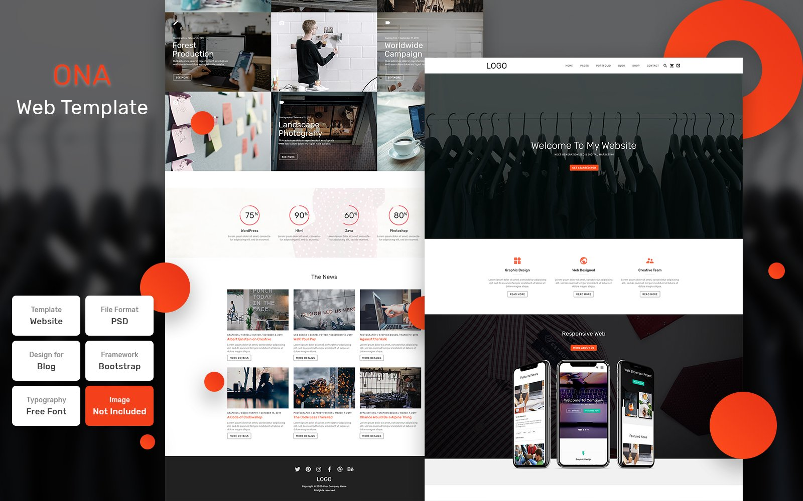 """""""Ona - Business Material"""" Bootstrap PSD Template №115717"""