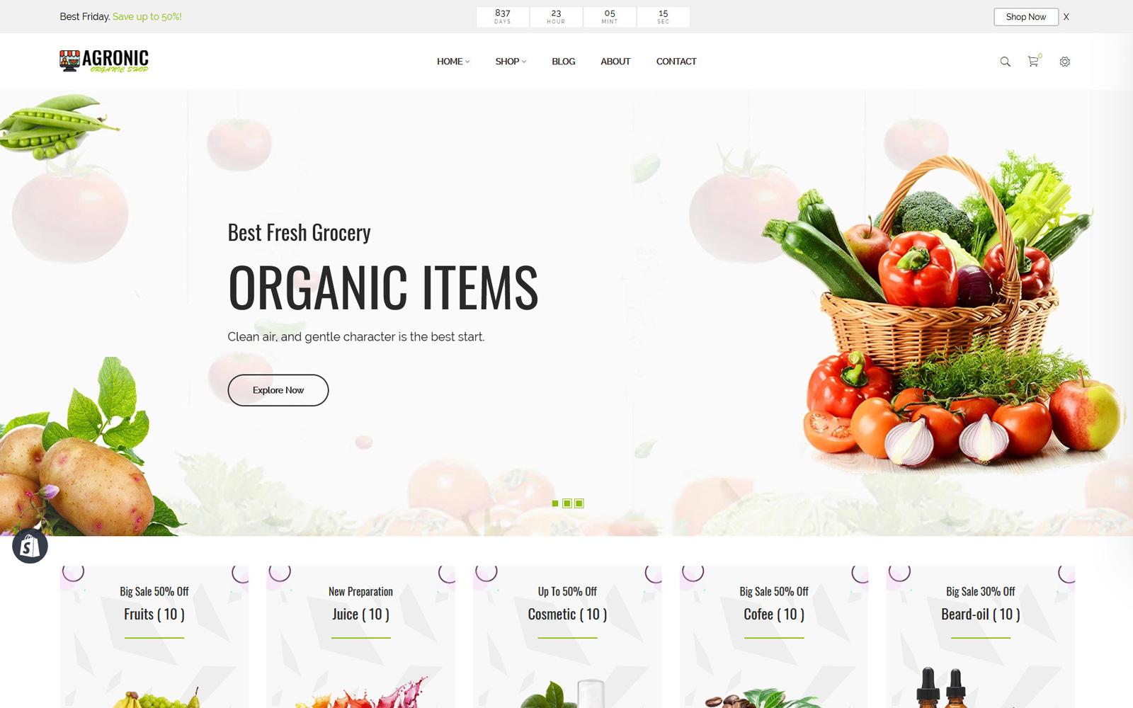 Reszponzív Agronic – Organic Shop Shopify sablon 115716