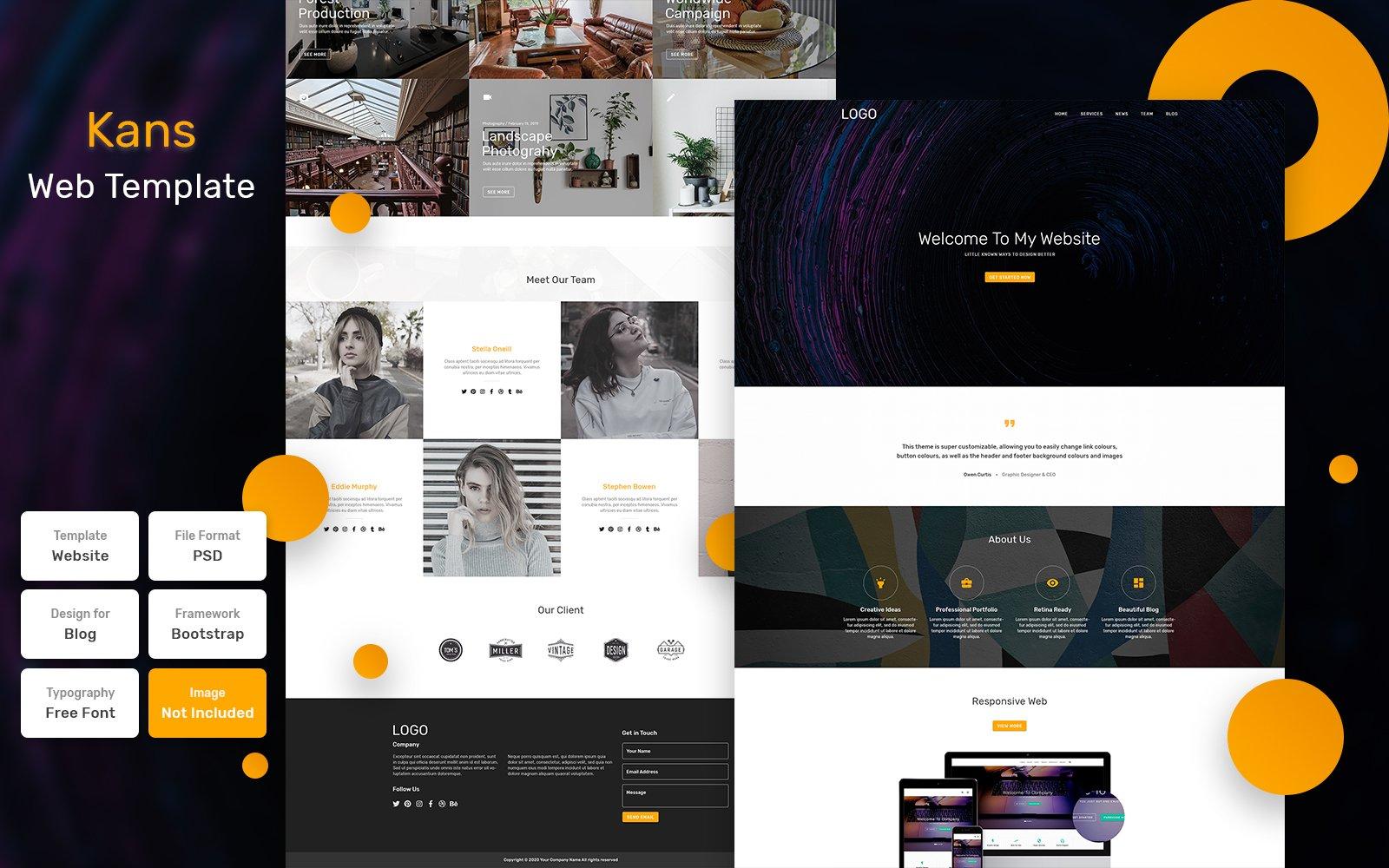 """Kans - Business Material"" Bootstrap PSD Template №115844"