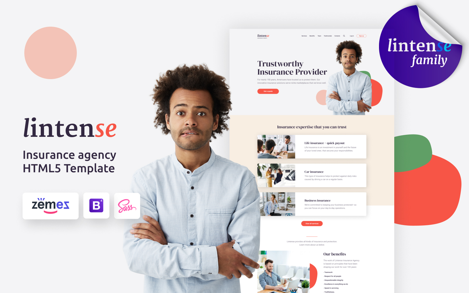 "Landing Page Template namens ""Lintense Insurance Agency - Creative HTML"" #115852"