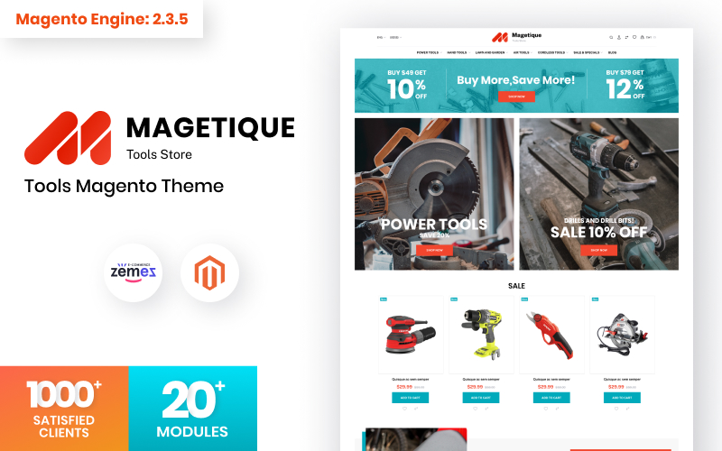 """Magetique - Tools Store"" - адаптивний Magento шаблон №115849"