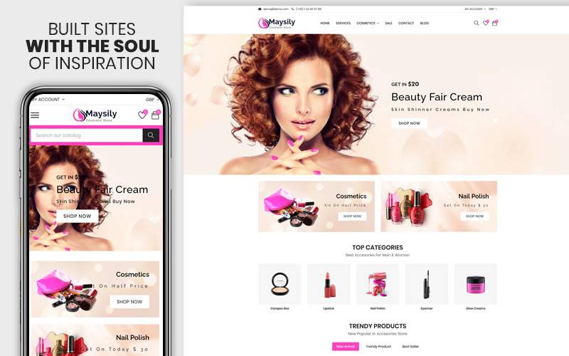 "Shopify Theme namens ""Maysily - The Beauty & Cosmetics Premium"" #115843"