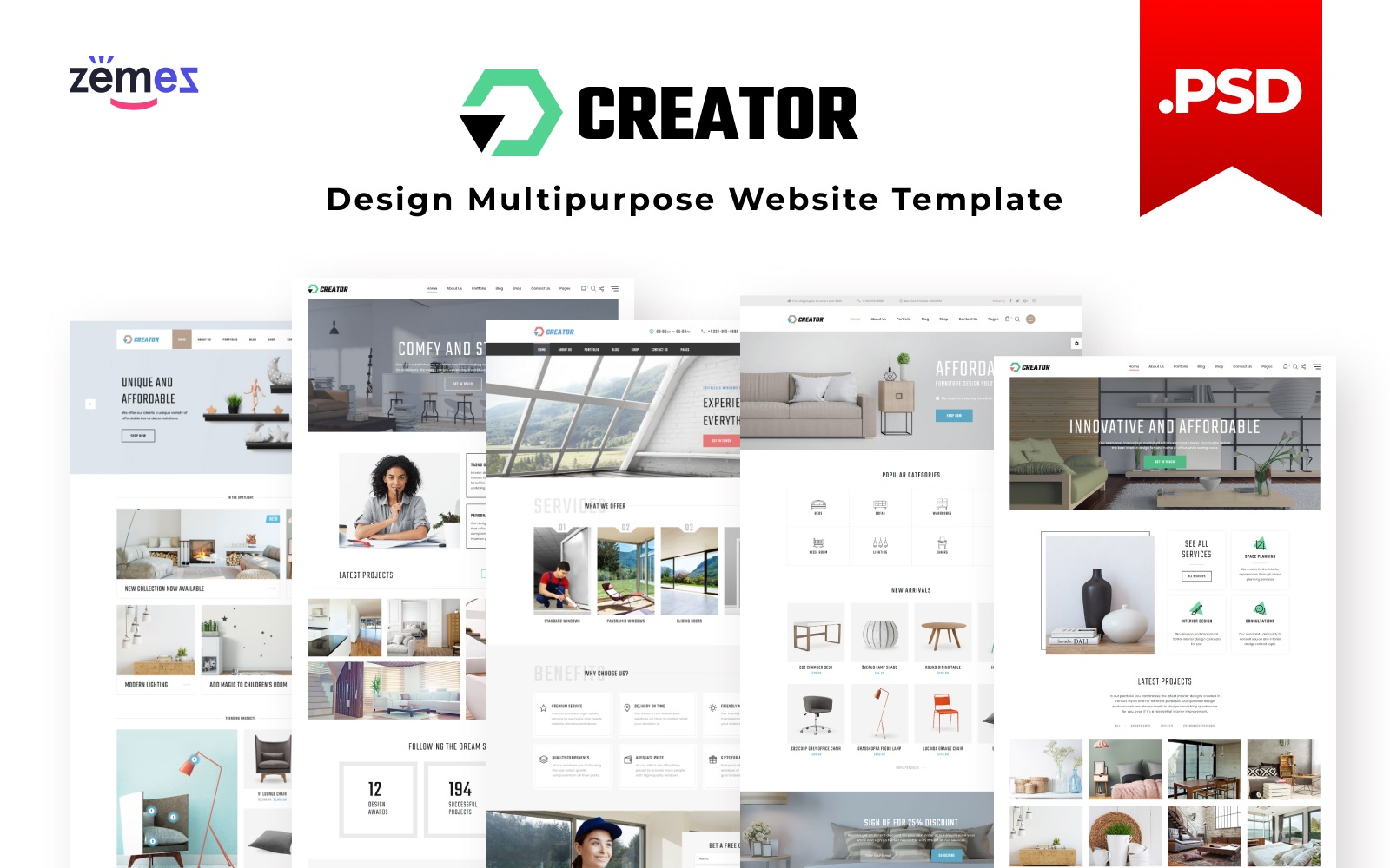"Tema PSD Responsive #115851 ""Creator - Design Multipurpose"""