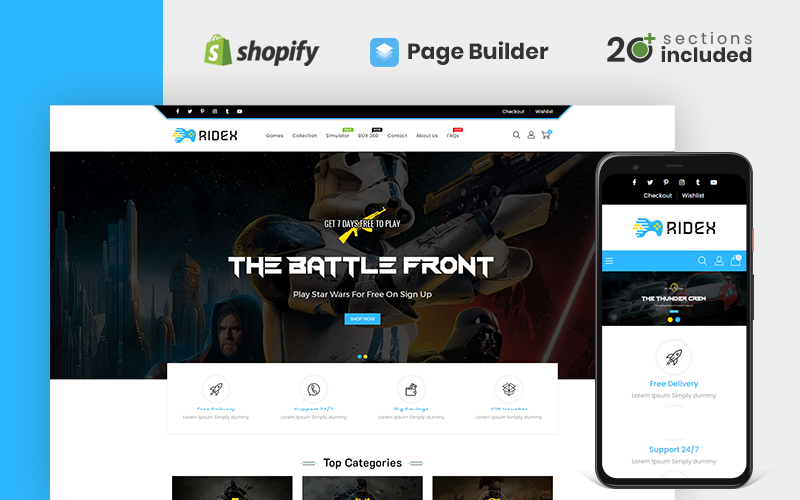"Tema Shopify Responsive #115845 ""Ridex Game Store"""