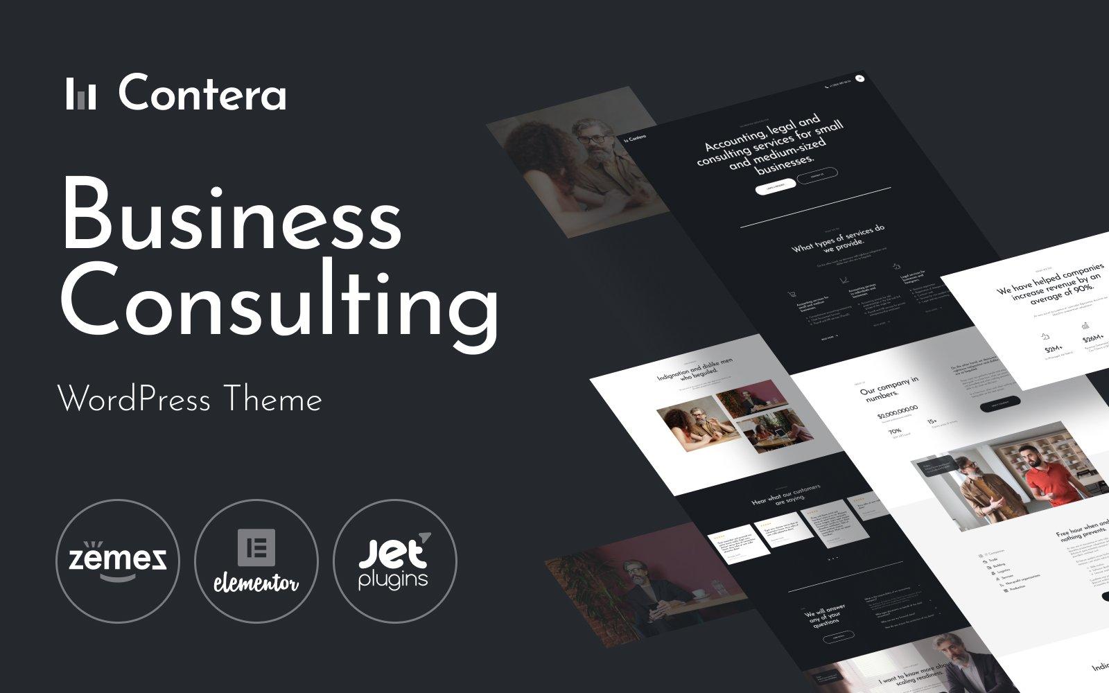 """Contera - Advisor Consulting Business Finance"" Responsive WordPress thema №115969"