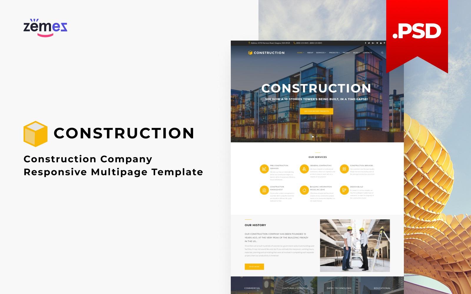 "Modello PSD Responsive #115967 ""Construction - Architecture Responsive Multipage"""