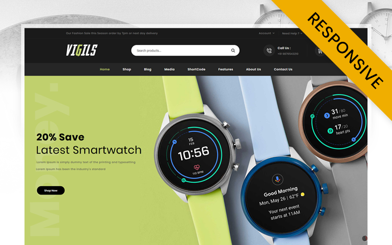 "Responzivní WooCommerce motiv ""Vigils - Smart Watch Store"" #115961"