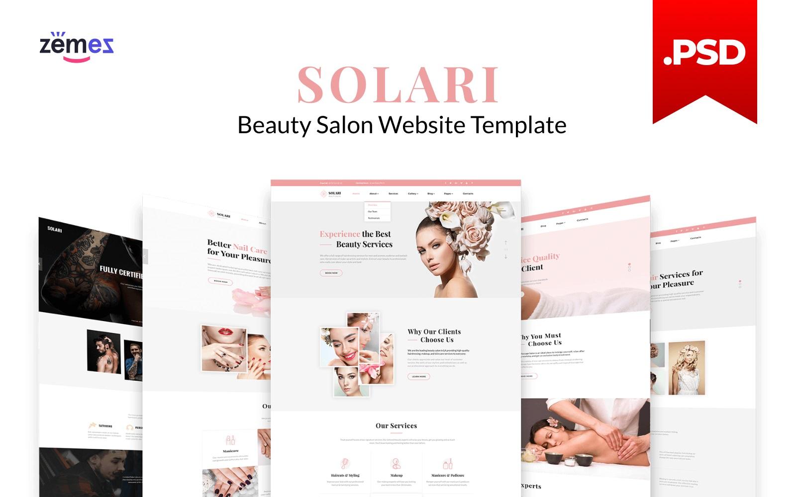 """Solari - Beauty Salon HTML5"" Responsive PSD Template №115968"