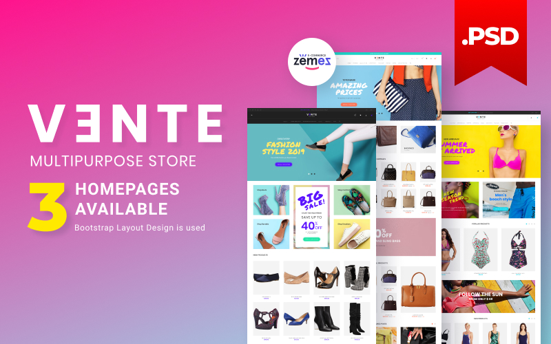 "Template PSD Responsive #115963 ""Vente - Apparel Multistore Design"""