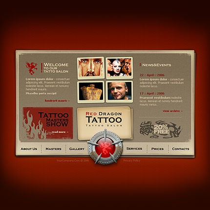 Full Flash WebSite for Tattoo Studios.